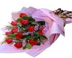 11 adet kirmizi güllerden görsel buket  Düzce internetten çiçek siparişi