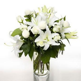 Düzce internetten çiçek siparişi  1 dal cazablanca 7 adet beyaz gül vazosu