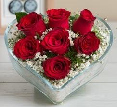 Kalp içerisinde 7 adet kırmızı gül  Düzce internetten çiçek siparişi