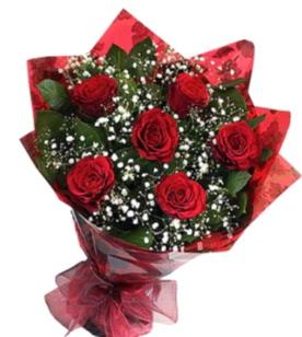 6 adet kırmızı gülden buket  Düzce çiçekçi mağazası