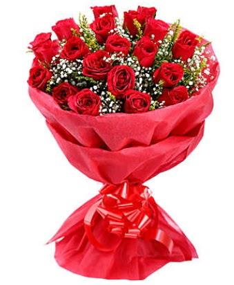 21 adet kırmızı gülden modern buket  Düzce online çiçek gönderme sipariş