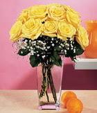 Düzce çiçek servisi , çiçekçi adresleri  9 adet sari güllerden cam yada mika vazo