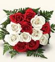 Düzce uluslararası çiçek gönderme  10 adet kirmizi beyaz güller - anneler günü için ideal seçimdir -