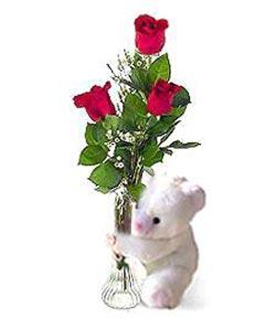 oyuncak ve 3 adet gül  Düzce çiçek online çiçek siparişi