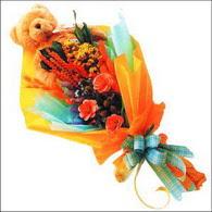 ayicik gül ve kir çiçekleri   Düzce hediye sevgilime hediye çiçek