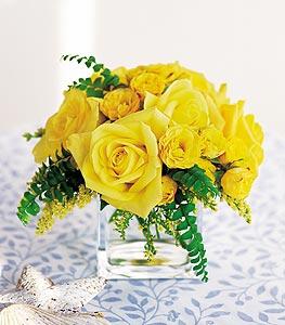 Düzce çiçek yolla , çiçek gönder , çiçekçi   cam içerisinde 12 adet sari gül