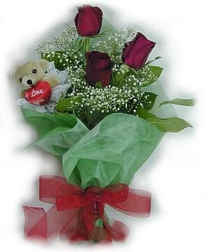 3 adet gül ve küçük ayicik buketi  Düzce online çiçekçi , çiçek siparişi