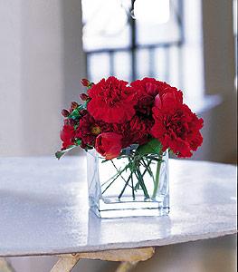 Düzce 14 şubat sevgililer günü çiçek  kirmizinin sihri cam içinde görsel sade çiçekler