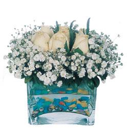 Düzce hediye sevgilime hediye çiçek  mika yada cam içerisinde 7 adet beyaz gül