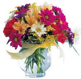 Düzce çiçek servisi , çiçekçi adresleri  cam yada mika içerisinde karisik mevsim çiçekleri