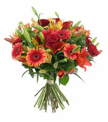 Düzce online çiçek gönderme sipariş  3 adet kirmizi gül ve karisik kir çiçekleri demeti