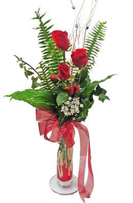 Çiçek gönderin cam vazoda 3 gül çiçekleri  Düzce çiçek online çiçek siparişi