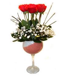 Düzce çiçek mağazası , çiçekçi adresleri  cam kadeh içinde 7 adet kirmizi gül çiçek