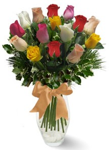 15 adet vazoda renkli gül  Düzce çiçek servisi , çiçekçi adresleri