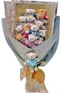 12 adet ayiciktan buket tanzimi  Düzce online çiçekçi , çiçek siparişi