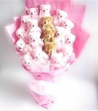 17 adet pelus ayicik buketi  Düzce çiçekçiler