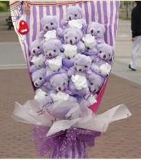 11 adet pelus ayicik buketi  Düzce internetten çiçek siparişi