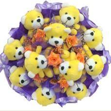 11 adet pelus ayicik buketi  Düzce çiçek , çiçekçi , çiçekçilik