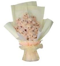 11 adet pelus ayicik buketi  Düzce 14 şubat sevgililer günü çiçek