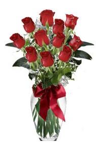 11 adet kirmizi gül vazo mika vazo içinde  Düzce çiçek gönderme sitemiz güvenlidir