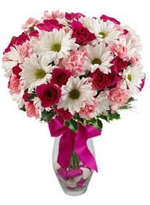 Düzce çiçek online çiçek siparişi  Karisik mevsim kir çiçegi vazosu