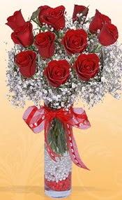 10 adet kirmizi gülden vazo tanzimi  Düzce çiçek online çiçek siparişi