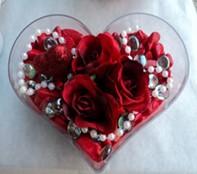 Düzce online çiçekçi , çiçek siparişi  mika kalp içerisinde 3 adet gül ve taslar