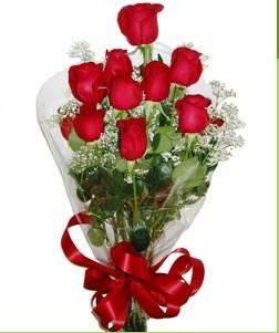 Düzce İnternetten çiçek siparişi  10 adet kırmızı gülden görsel buket