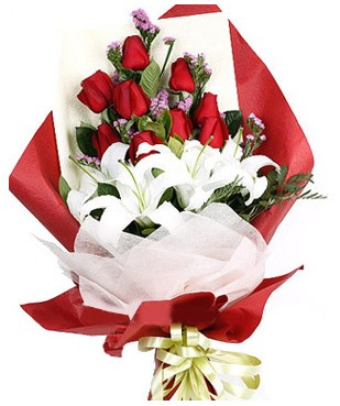 Düzce çiçek mağazası , çiçekçi adresleri  1 dal kazablankaa 9 adet kırmızı gül buketi