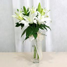 Düzce çiçek yolla  2 dal kazablanka ile yapılmış vazo çiçeği