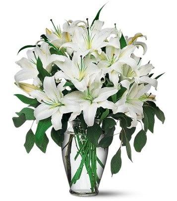 Düzce çiçek servisi , çiçekçi adresleri  4 dal kazablanka ile görsel vazo tanzimi