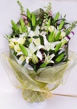 Düzce çiçek satışı  3 adet kazablankalardan görsel buket çiçeği