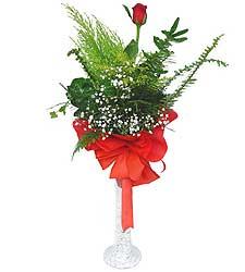 Düzce çiçek yolla  Cam vazoda masum tek gül
