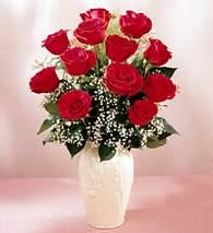 Düzce hediye sevgilime hediye çiçek  9 adet vazoda özel tanzim kirmizi gül