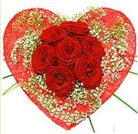 Mika kalp içerisinde 7 adet kırmızı gül  Düzce hediye sevgilime hediye çiçek