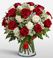 Vazoda 12 kırmızı 12 beyaz gül tanzimi  Düzce İnternetten çiçek siparişi