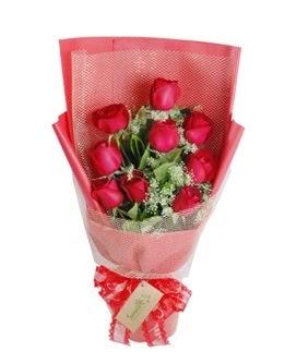 9 adet kırmızı gülden görsel buket  Düzce 14 şubat sevgililer günü çiçek