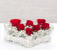 kalp içerisinde 7 adet kırmızı gül  Düzce güvenli kaliteli hızlı çiçek