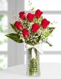 Cam vazoda 7 adet kırmızı gül  Düzce uluslararası çiçek gönderme