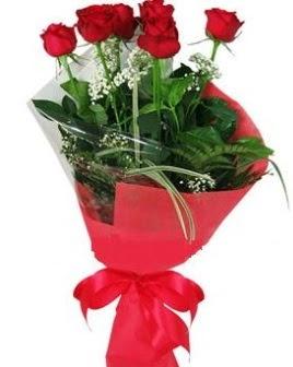 5 adet kırmızı gülden buket  Düzce ucuz çiçek gönder