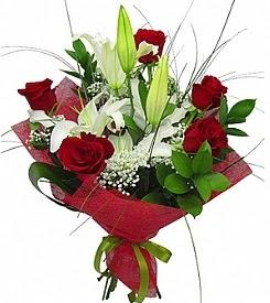 1 dal kazablanka 5 kırmızı gül buketi  Düzce ucuz çiçek gönder