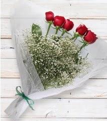 5 kırmızı gülden sade buket  Düzce çiçek siparişi vermek