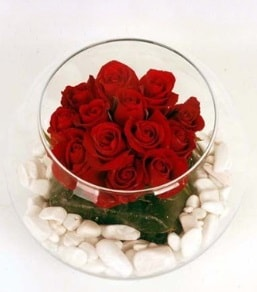 Cam fanusta 11 adet kırmızı gül  Düzce online çiçek gönderme sipariş