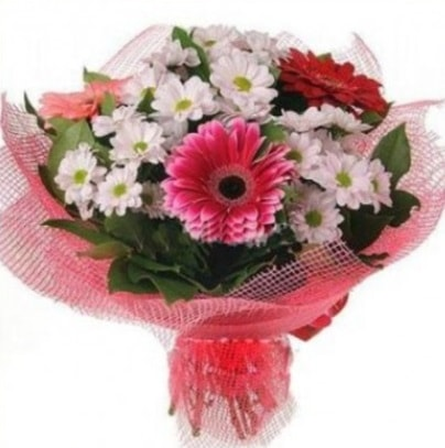 Gerbera ve kır çiçekleri buketi  Düzce kaliteli taze ve ucuz çiçekler