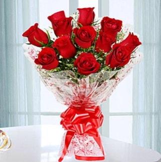 11 adet kırmızı gülden görsel şık buket  Düzce 14 şubat sevgililer günü çiçek