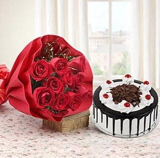 12 adet kırmızı gül 4 kişilik yaş pasta  Düzce uluslararası çiçek gönderme