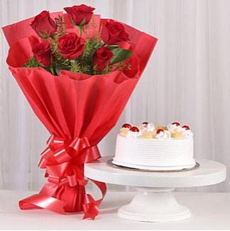 6 Kırmızı gül ve 4 kişilik yaş pasta  Düzce uluslararası çiçek gönderme
