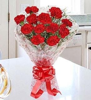 12 adet kırmızı karanfil buketi  Düzce çiçekçiler