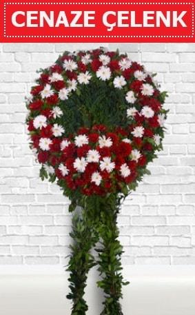 Kırmızı Beyaz Çelenk Cenaze çiçeği  Düzce çiçekçiler