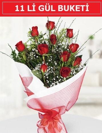 11 adet kırmızı gül buketi Aşk budur  Düzce internetten çiçek siparişi